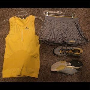 Stella McCartney tennis-skirt (S)/tank(M)/shoes(8)
